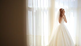 Ritratto di bella giovane sposa sotto il velo nuziale video d archivio