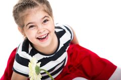 Ritratto di bella piccola ragazza allegra Le risate del bambino Immagine Stock
