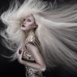 Ritratto della ragazza con i capelli di volo Immagini Stock