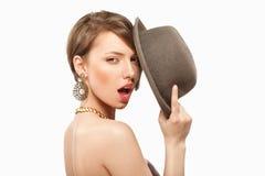 Ritratto di bella ragazza con il cappello Fotografie Stock Libere da Diritti