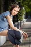 Ritratto di bella ragazza con il cappello Fotografia Stock Libera da Diritti
