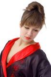 Ritratto di bella ragazza in kimono Fotografia Stock