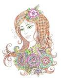 Ritratto di bella ragazza nello stile dello zentangle Immagini Stock