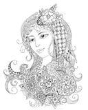 Ritratto di bella ragazza nello stile dello zentangle Fotografia Stock