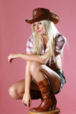 Ritratto di bella ragazza sexy del rodeo Fotografie Stock