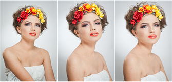 Ritratto di bella ragazza in studio con giallo e le rose rosse nei suoi capelli e spalle nude Giovane donna sexy Fotografie Stock Libere da Diritti