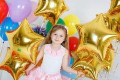 Ritratto di bella ragazza sul vostro compleanno Fotografia Stock Libera da Diritti