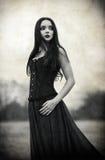 Ritratto di bella ragazza triste del goth Effetto di struttura di lerciume Fotografia Stock