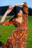 Ritratto di bella ragazza in un cappello Fotografia Stock