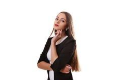 Ritratto di bella ragazza in un poco vestito isolato su bianco Fotografia Stock Libera da Diritti