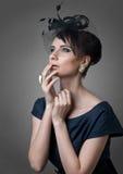 Ritratto di bella retro donna designata Fotografia Stock Libera da Diritti