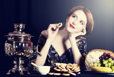 Ritratto di belle donne russe ricche. fotografie stock