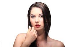 Ritratto di bellezza con bei capelli lunghi marroni luminosi isolati Fotografia Stock
