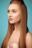 Ritratto di bellezza della ragazza attraente con capelli lunghi Fotografie Stock Libere da Diritti