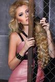 Ritratto di bellezza di modo della donna, Girl Hairstyle di modello, capelli biondi Fotografie Stock Libere da Diritti