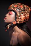 Ritratto di bellezza Trucco rosso Fotografia Stock