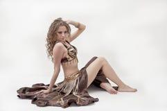 Ritratto di bello danzatore di pancia fotografia stock