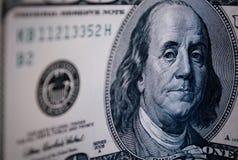 Ritratto di Benjamin Franklin sulla banconota in dollari 100 Fotografia Stock