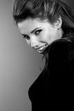 Ritratto di BW del brunette attraente fotografia stock libera da diritti