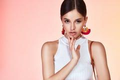 Ritratto di cura di pelle cosmetica del bello fronte perfetto sexy della donna Fotografia Stock Libera da Diritti
