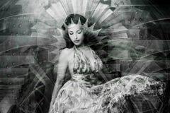 Ritratto di doppia esposizione della giovane bella donna fotografie stock