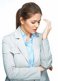 Ritratto di emicrania della donna, testa commovente Donna di affari - 2 Immagine Stock