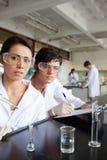 Ritratto di funzionamento degli allievi di scienza Immagini Stock Libere da Diritti