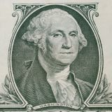 Ritratto di George Washington su 1 banconota in dollari fotografia stock libera da diritti