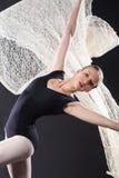 Ritratto di giovane ballerino di balletto con il pizzo di volo Fotografia Stock Libera da Diritti