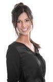 Ritratto di giovane bella donna di affari in una blusa nera Immagini Stock