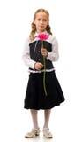 Ritratto di giovane bella ragazza con il fiore Fotografia Stock