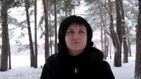 Ritratto di giovane castana in una pelliccia, nelle passeggiate in legno nevoso o nel parco un giorno freddo e nell'esame della m video d archivio