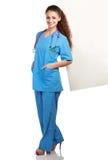 Ritratto di giovane condizione della donna di medico, isolato fotografia stock