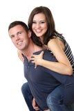 Ritratto di giovane coppia piacevole in studio Fotografia Stock Libera da Diritti