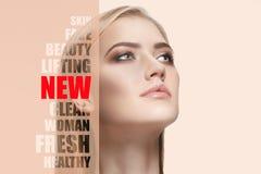 Ritratto di giovane, donna in buona salute e bella Chirurgia plastica, medicina, stazione termale, cosmetici e concetto di volto fotografie stock