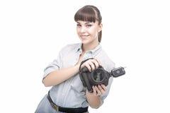 Ritratto di giovane donna caucasica che prende le immagini con Professiona Immagini Stock