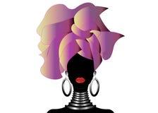 Ritratto di giovane donna di colore in un turbante Bellezza dell'Africano di animazione Fondo isolato o bianco dell'illustrazione Immagine Stock