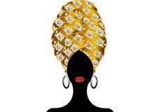 Ritratto di giovane donna di colore in un turbante Bellezza dell'Africano di animazione Vector l'illustrazione di colore isolata  Immagini Stock Libere da Diritti