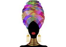 Ritratto di giovane donna di colore in un turbante Bellezza dell'Africano di animazione Vector l'illustrazione di colore isolata  Immagini Stock