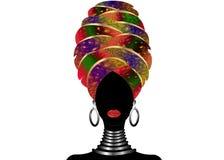 Ritratto di giovane donna di colore in un turbante Bellezza dell'Africano di animazione Vector l'illustrazione di colore isolata  Fotografia Stock