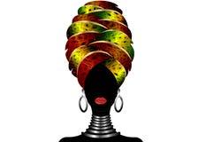 Ritratto di giovane donna di colore in un turbante Bellezza dell'Africano di animazione Vector l'illustrazione di colore isolata  Immagine Stock