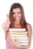 Ritratto di giovane donna con i libri isolati Fotografia Stock