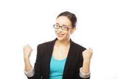 Ritratto di giovane donna del vincitore con i vetri Fotografia Stock Libera da Diritti