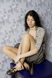 Ritratto di giovane donna depressa attraente immagine stock