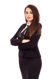 Ritratto di giovane donna di affari attraente con le armi piegate Immagini Stock