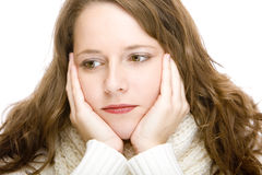 Ritratto di giovane donna di pensiero attraente Fotografia Stock