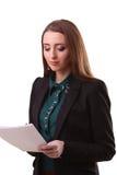Ritratto di giovane donna felice di affari isolata sul backgro bianco Immagine Stock