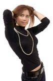 Ritratto di giovane donna sexy in maglioni fotografia stock