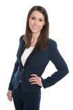 Ritratto di giovane donna sorridente di affari isolata su bianco Immagine Stock
