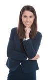 Ritratto di giovane donna sorridente di affari isolata su bianco Immagine Stock Libera da Diritti